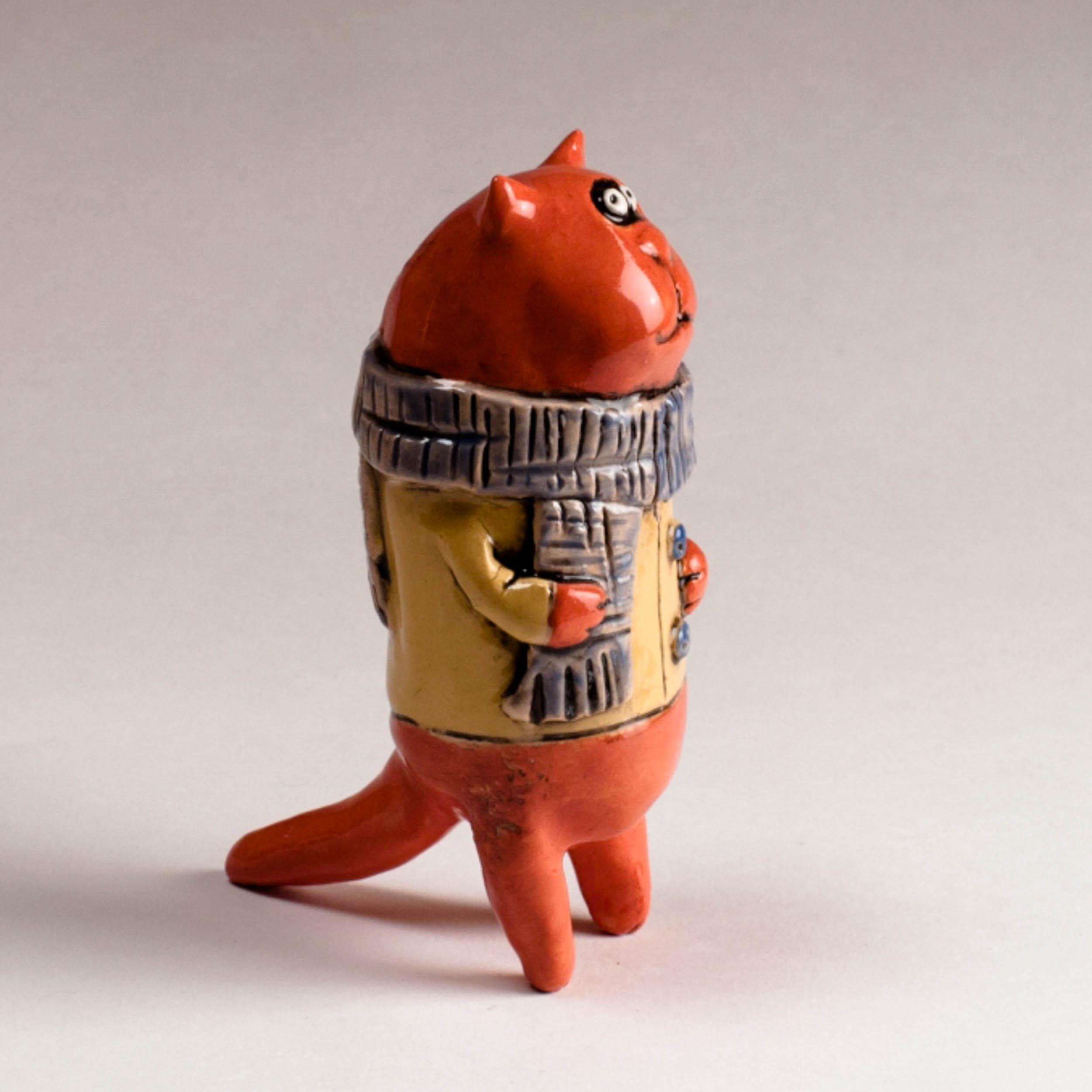 Керамическая фигурка «Осенний Оранжевый кот»