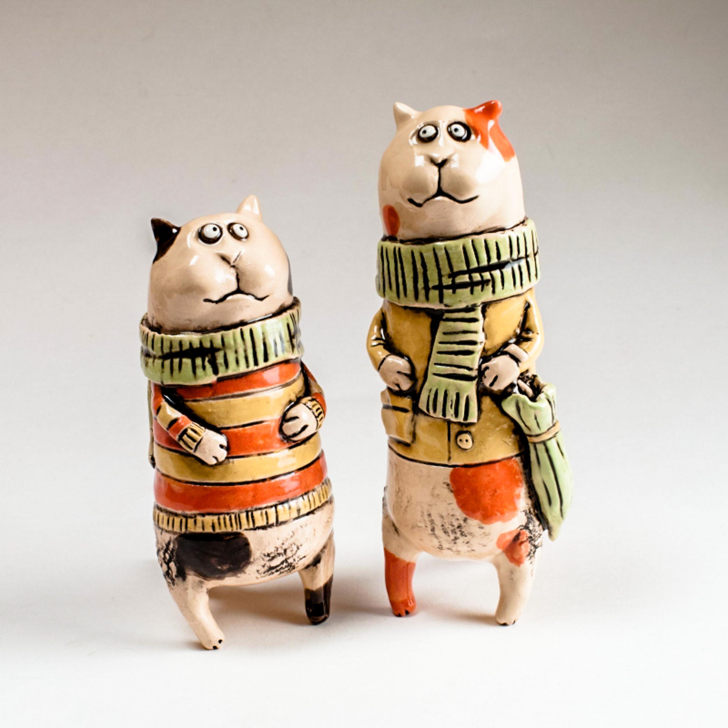 Керамические статуэтки котов ручной работы