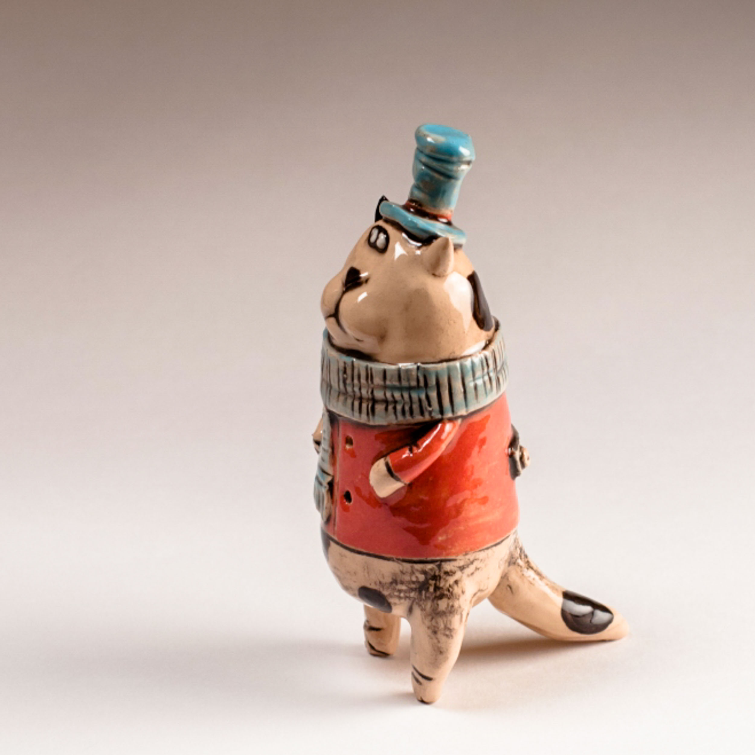 Керамическая фигурка кота «Осенний кот»